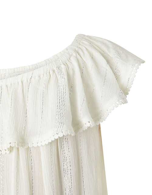 Willabelle Metallic Asymmetric Dress, White (WHITE), large