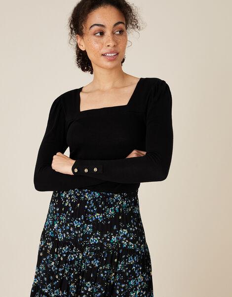 Sable Square Neck Long Sleeve Top Black, Black (BLACK), large