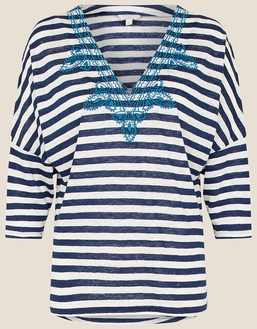 Embroidered Stripe Top , Ivory (IVORY), large