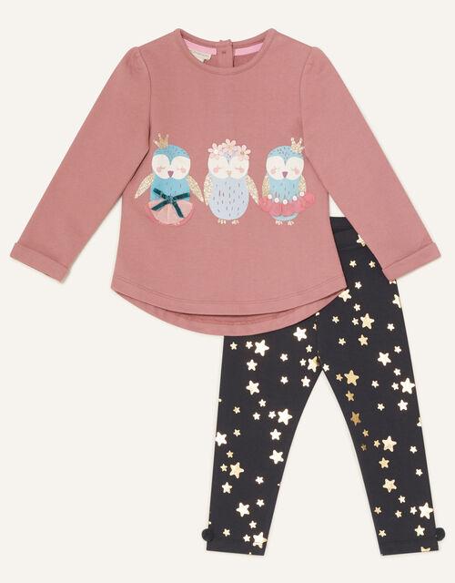 Baby Owl Sweatshirt and Leggings, Purple (PURPLE), large
