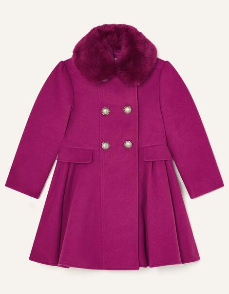 Faux Fur Collar Skirted Coat Pink, Pink (PINK), large