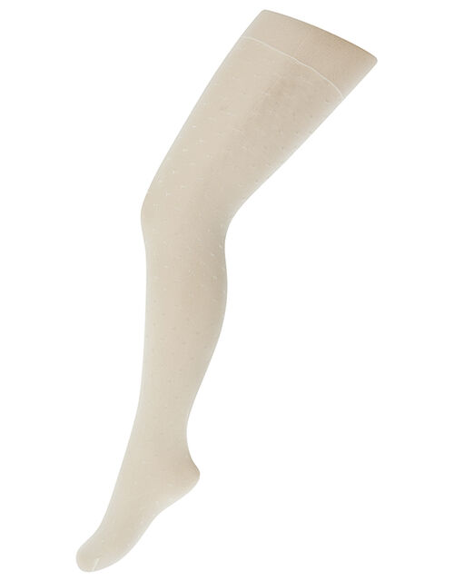 Girl Bridal Spot Tights, Ivory (IVORY), large