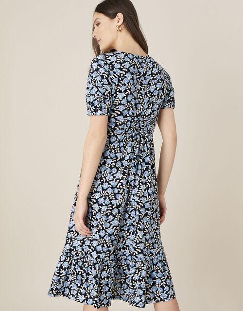Athena Floral Print Midi Dress, Blue (BLUE), large