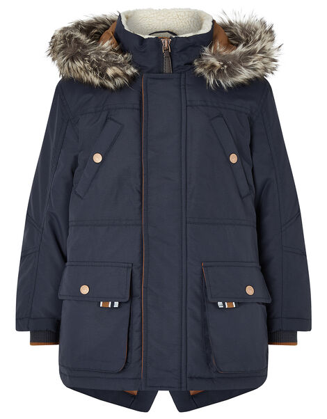Boys Navy Parka Coat Blue, Blue (NAVY), large