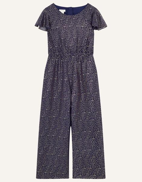 Bexley Glitter Print Jumpsuit  Blue, Blue (NAVY), large