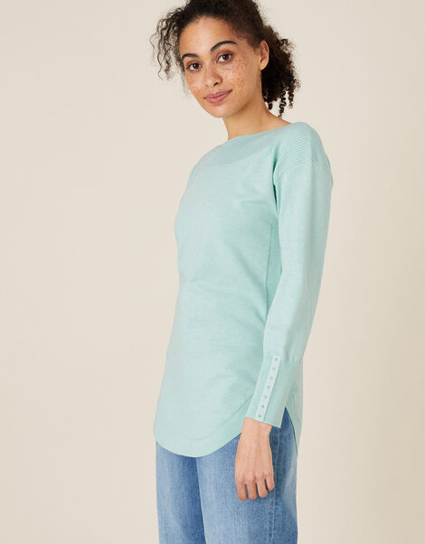 Slash Neck Knit Jumper Green, Green (MINT), large