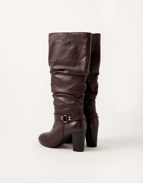 Belle Buckle Slouch Leather Boots, Red (BURGUNDY), large