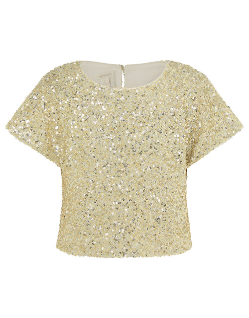 Sequin Flutter Sleeve Top, Gold (GOLD), large