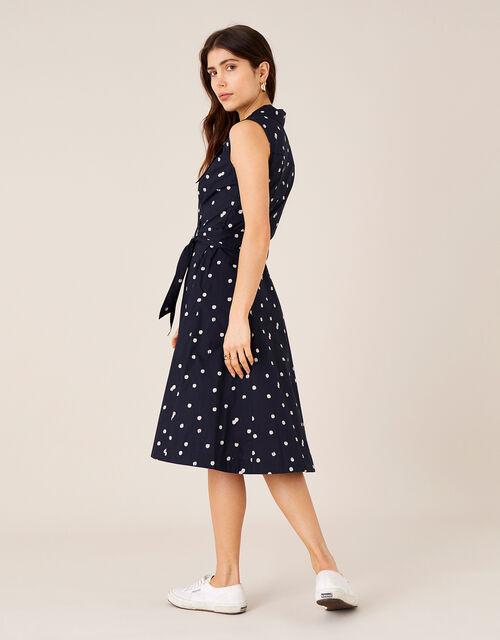 Marley Spot Print Poplin Dress , Blue (NAVY), large
