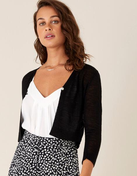 Button Shrug in Linen Blend Black, Black (BLACK), large