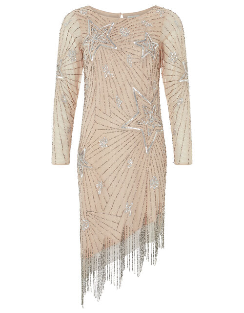 Shoshanna Embellished Fringe Tunic Dress, Nude, large