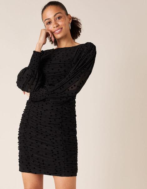 Sophie Spot Stretch Ruched Dress Black, Black (BLACK), large