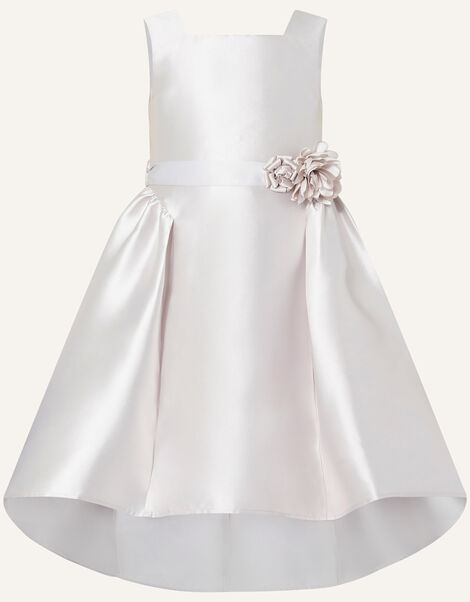 Cynthia Corsage Belt Dress Silver, Silver (SILVER), large