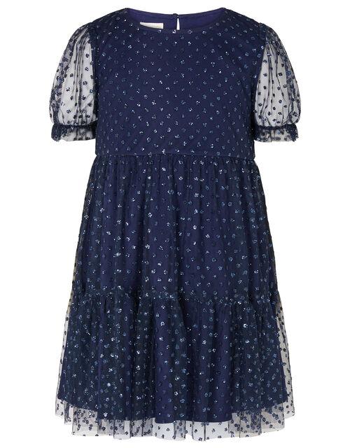 Glitter Spot Tiered Dress, Blue (NAVY), large