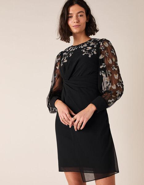 Felicia Feather Embellished Short Dress Black, Black (BLACK), large