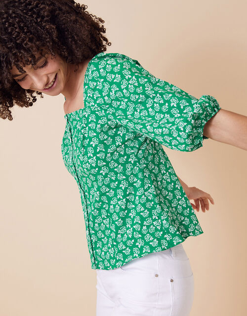 Rose Print Balloon Sleeve Top in Organic Cotton, Green (GREEN), large