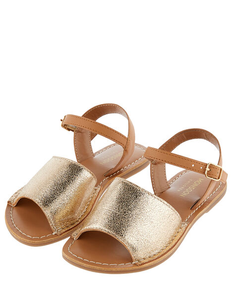 Zeta Peep-Toe Leather Sandals  Gold, Gold (GOLD), large