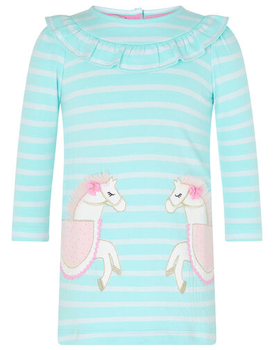 Baby Horse Stripe Sweat Dress in Organic Cotton Blue, Blue (AQUA), large