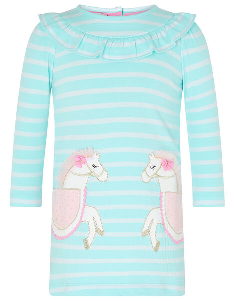 Baby Horse Stripe Sweat Dress in Organic Cotton Blue, Blue (AQUA), large