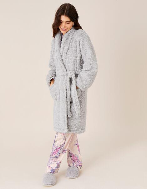LOUNGE Fluffy Dressing Gown Grey, Grey (GREY), large