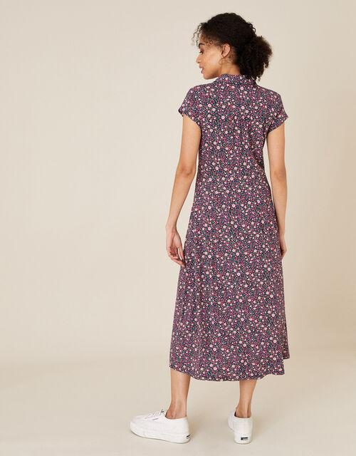 Floral Shirt Dress with Organic Cotton, Pink (PINK), large
