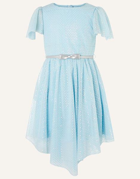 Sequin Flutter Sleeve Dress  Blue, Blue (PALE BLUE), large
