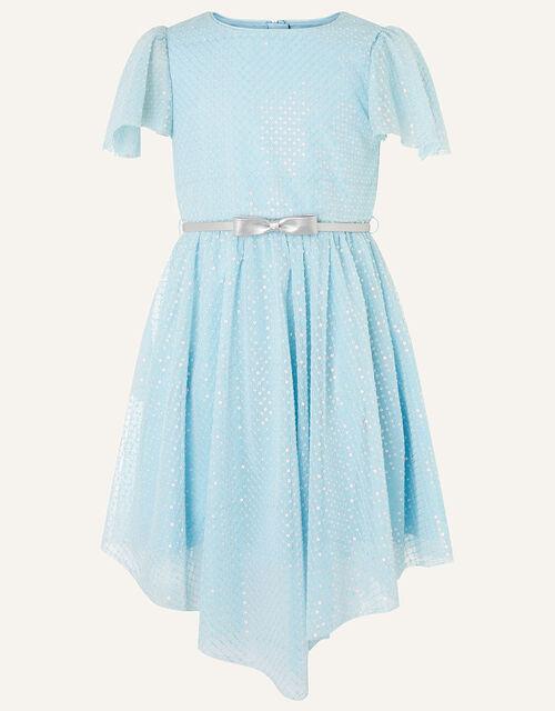 Sequin Flutter Sleeve Dress , Blue (PALE BLUE), large