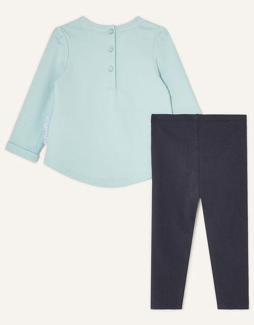 Baby Hedgehog Sweat Top and Leggings, Blue (AQUA), large