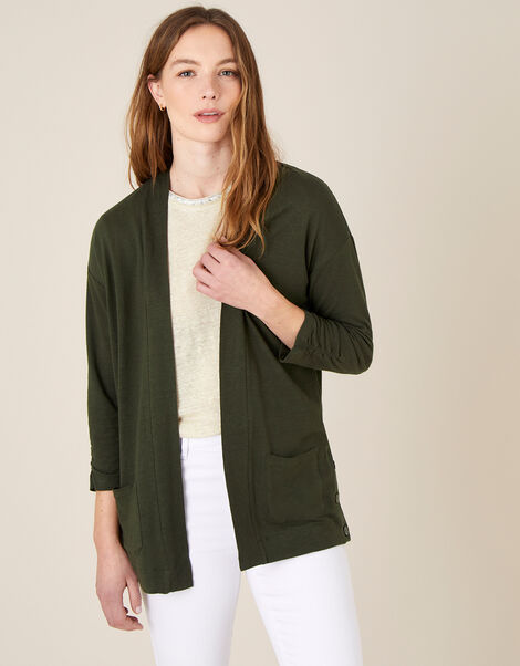 Bonnie Button Cover-Up in Linen Blend  Green, Green (KHAKI), large