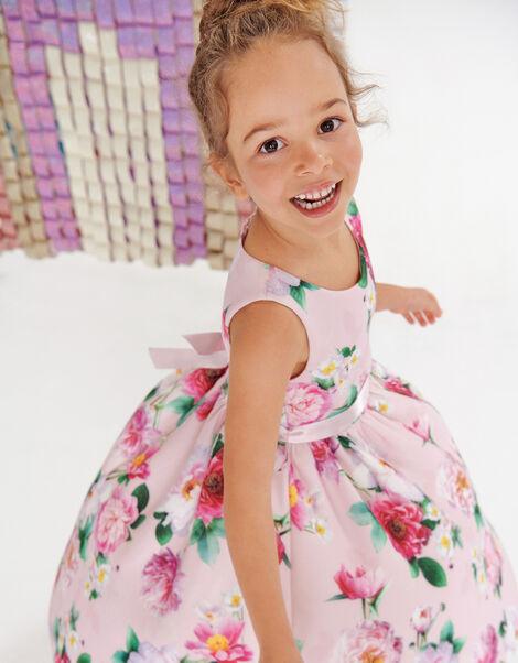 Floral Sleeveless Scuba Dress  Pink, Pink (PINK), large