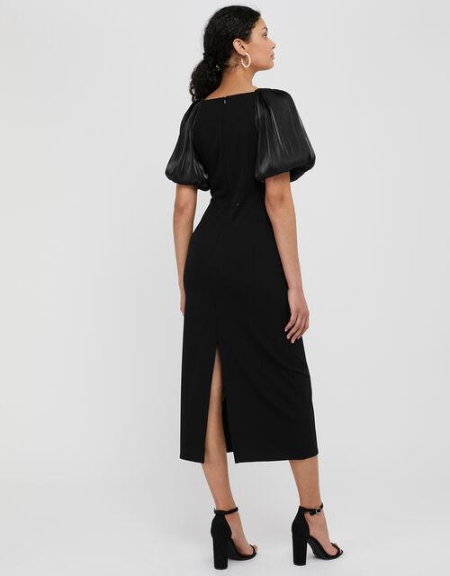 Eliza Organza Puff Sleeve Midi Dress, Black (BLACK), large