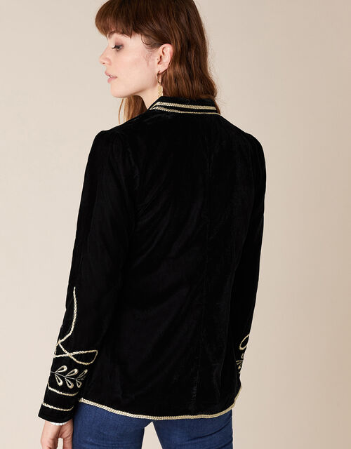 Velvet Military Jacket, Black (BLACK), large