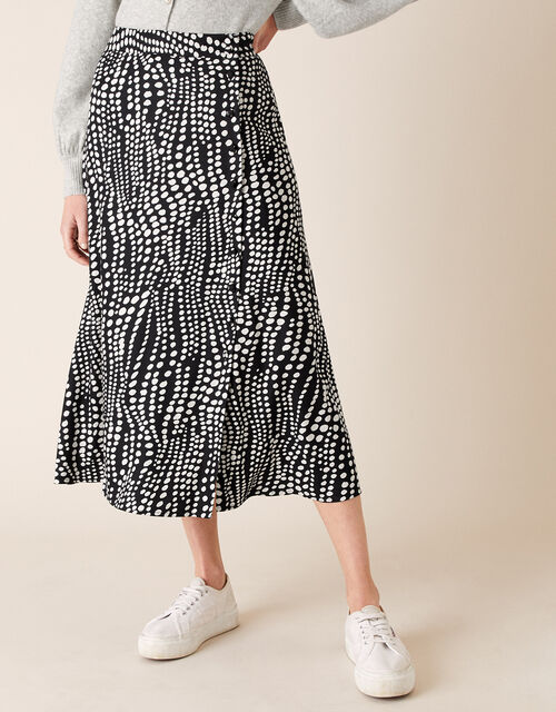 Monochrome Spot Midi Skirt, Black (BLACK), large