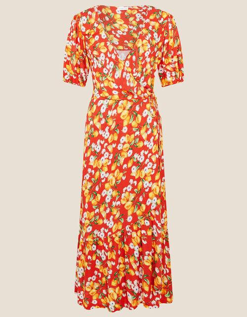 Lily Lemon Print Wrap Dress , Red (RED), large
