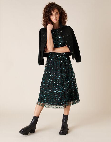 Aphrodite Heart Sequin Midi Dress Black, Black (BLACK), large
