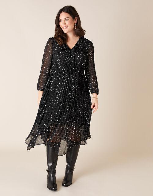Spot Print Pleated Hanky Hem Dress, Black (BLACK), large