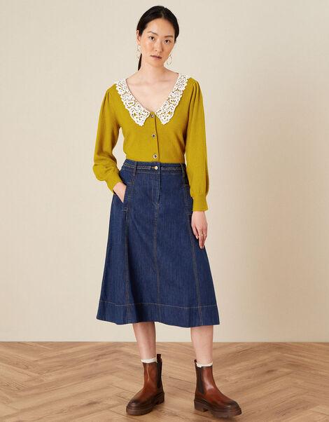 A-Line Denim Skirt Blue, Blue (DENIM BLUE), large
