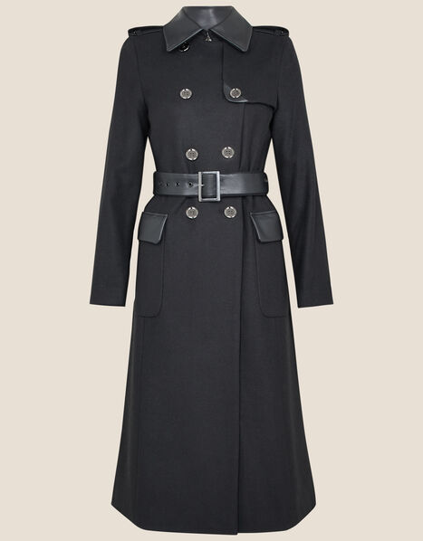 Anne Trench Coat in Wool Blend Black, Black (BLACK), large