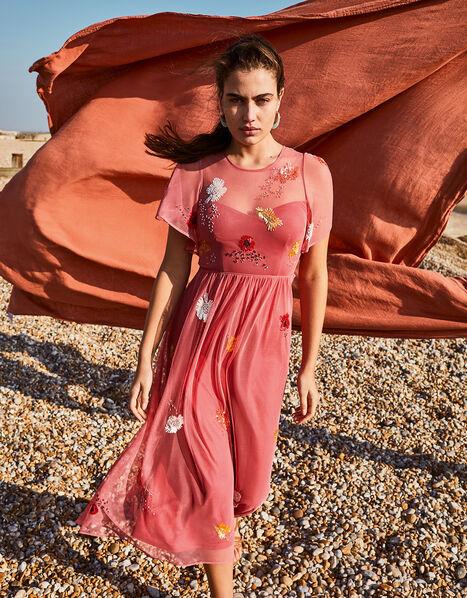Elissia Embellished Midi Dress in Recycled Fabric Orange, Orange (CORAL), large