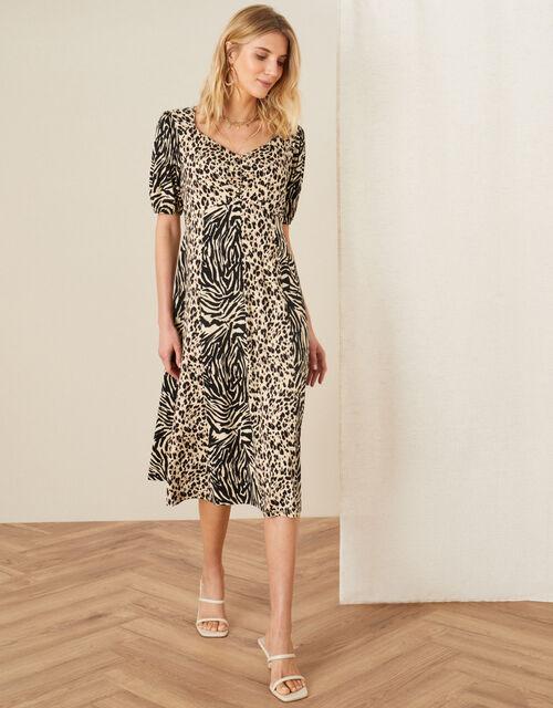 Vikky Animal Print Jersey Midi Dress, Camel (BEIGE), large