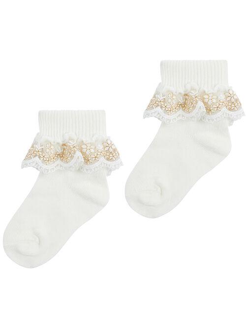 Baby Chloe Sparkle Lace Sock, Ivory (IVORY), large