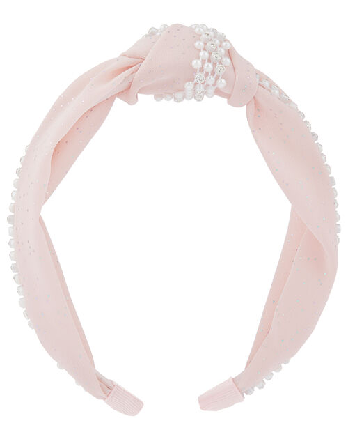 Pearl Shimmer Knotted Headband, , large