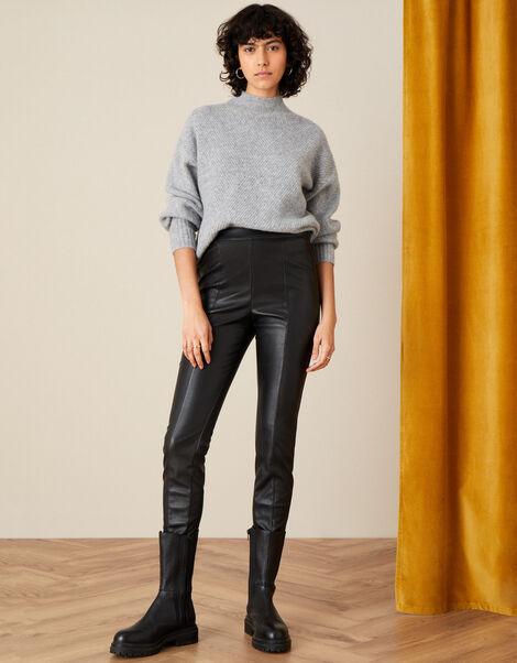 Payton PU Leggings Black, Black (BLACK), large