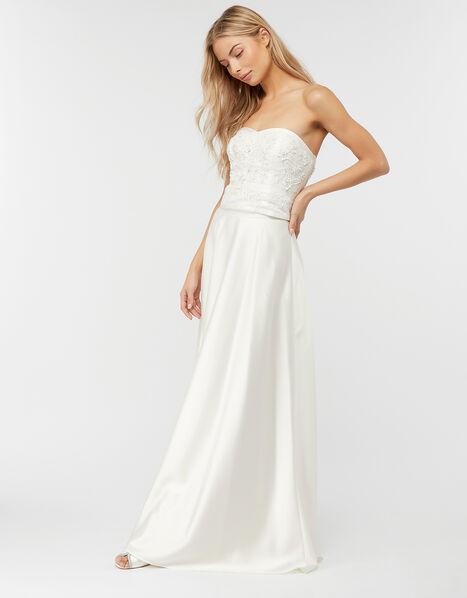 Jane Satin Bridal Maxi Skirt Ivory, Ivory (IVORY), large