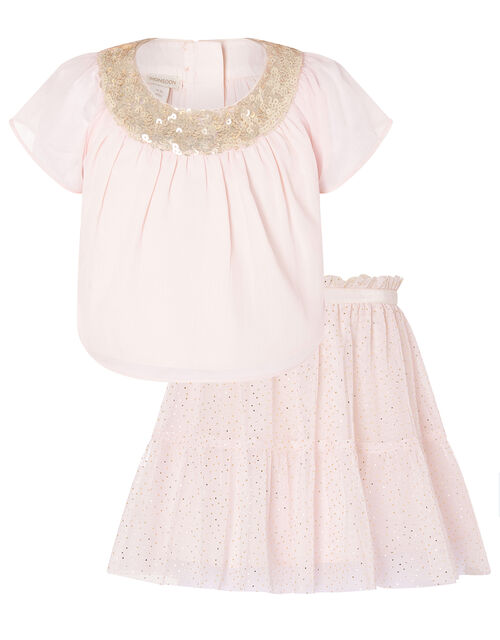 Baby Sequin Sparkle Top and Skirt Set, Pink (PALE PINK), large