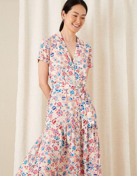 Teagan Floral Shirt Dress Ivory, Ivory (IVORY), large