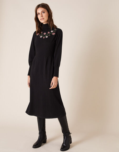 Embroidered Yoke Knit Midi Dress, Black (BLACK), large