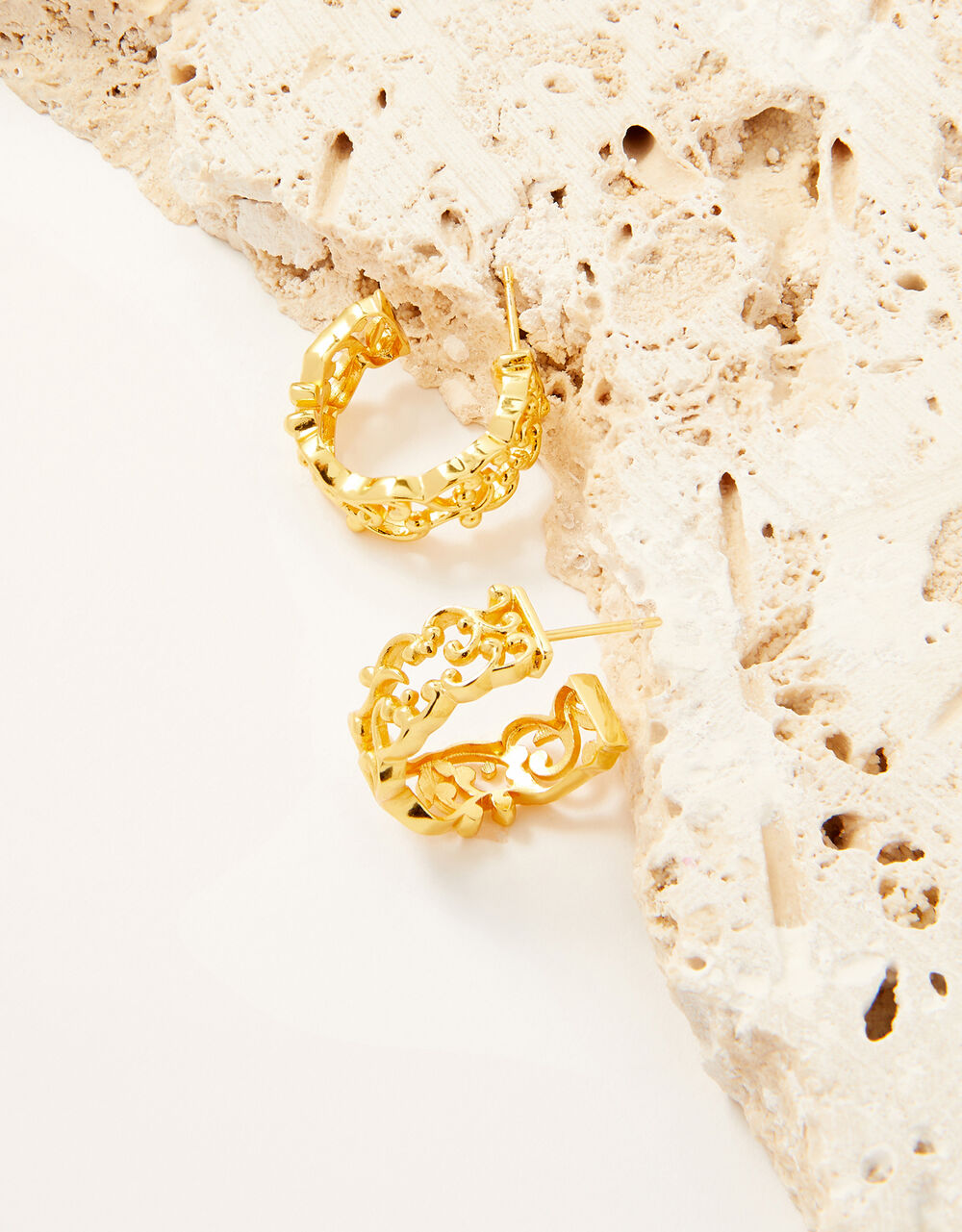 Gold-Plated Cut-Out Detail Hoop Earrings, , large