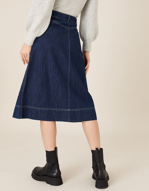 Denim Midi Skirt in Organic Cotton , Blue (INDIGO), large