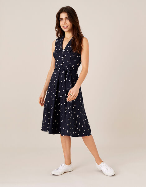 Marley Spot Print Poplin Dress  Blue, Blue (NAVY), large